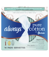 Always Pure Cotton with FlexFoam Pads Regular Absorbency