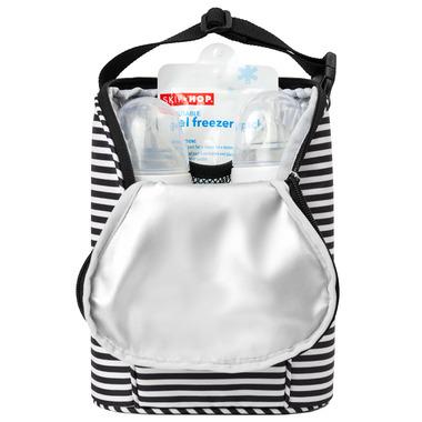 Skip Hop Grab & Go Double Bottle Bag Black & White Stripe