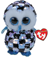 Ty Flippables Topper Sequin Blue Black Owl Medium