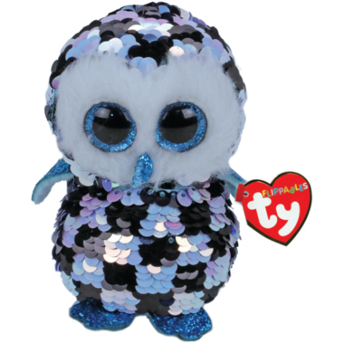 Ty Flippables Topper Sequin Blue Black Owl Medium