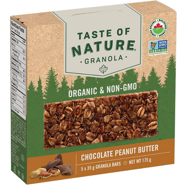 Taste of Nature Organic Granola Bars Chocolate Peanut Butter Case of 5x35g