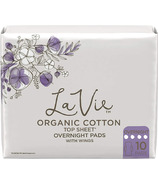 La Vie Organic Cotton Top Sheet Pads with Wings Overnight Long