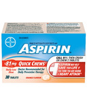 Aspirin 81mg Quick Chews Daily Low Dose Orange Flavour Small Bottle