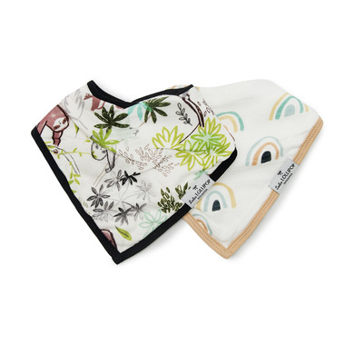 Loulou Lollipop Sloth & Neutral Rainbow Muslin Bib Set