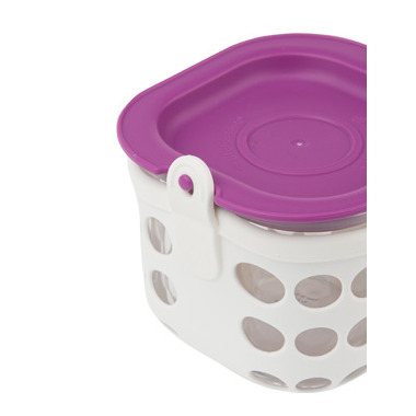 Lifefactory 2 Cup Glass Food Storage in Huckleberry & White