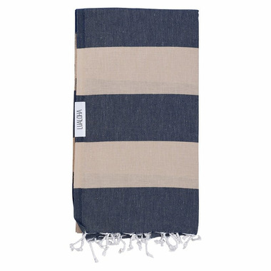 Lualoha Turkish Towel Buddhaful Navy & Sand