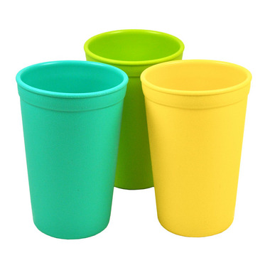 Re-Play Drinking Cups Aqua, Sunny Yellow and Lime Green