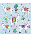 Elise Llama Fiesta 3 Ply Luncheon Napkin Llama and Cactus