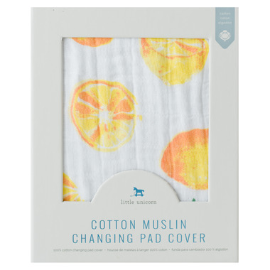 Little Unicorn Cotton Muslin Changing Pad Cover Lemon