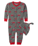 Hatley Farm Tractors Baby Coverall & Hat