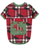 Hatley Little Blue House Dog Pajama Holiday Moose on Plaid