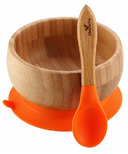 Avanchy Baby Organic Bamboo Stay Put Suction Bowl and Spoon Orange