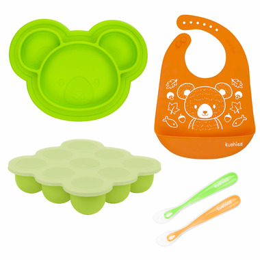 Kushies Siliset All-in-One Silicone Feeding Set Bears