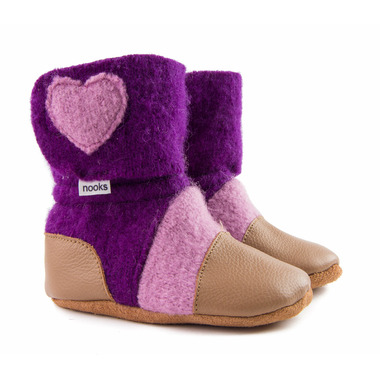 Nooks Design Felted Wool Booties Plum