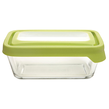 Anchor TrueSeal 4 3/4 Cup Rectangular Storage Container with Green Lid