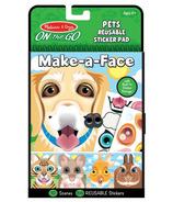 Melissa & Doug On the Go Make-a-Face Pet Animals Bloc d'autocollants réutilisables