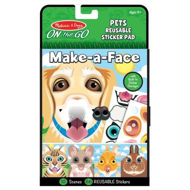 Melissa & Doug On the Go Make-a-Face Pet Animals Reusable Sticker Pad