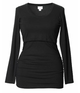 Boob Flatter Me Long Sleeve Top Black Size S-XL