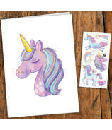 PiCO Temporary Tattoos Unicorn Card & Tattoos