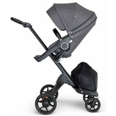 Stokke Xplory Black Chassis & Stroller Seat Black Melange with Black Handle