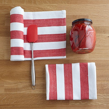 Harman Industrial Stripe Basketweave Tea Towels Red and White