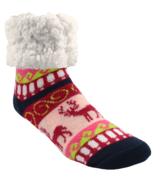 Pudus Slipper Sock Reindeer Raspberry