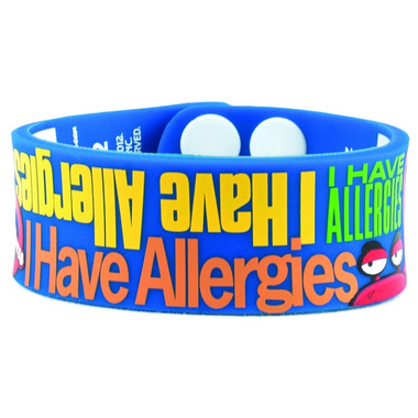 Allermates I Have Allergies Writeable Silicone Wristband