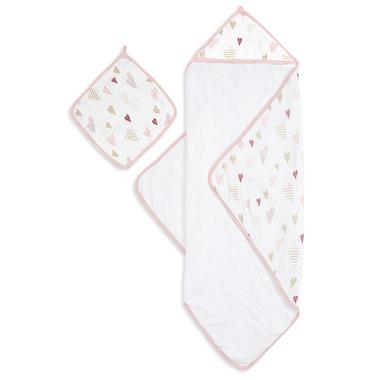 aden + anais Muslin Backed Hooded Towel & Washcloth Heart Breaker