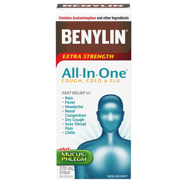 Benylin All-In-One Extra Strength Cough Cold & Flu Daytime Syrup