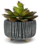 Natural Living Trino Round Planter Small Black/White