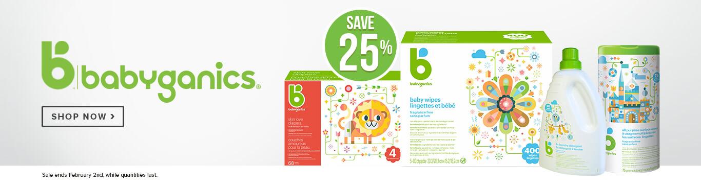 Save 25% off Babyganics