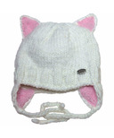 Calikids Iceland Acrylic Knit & Berber Hat with Ears White