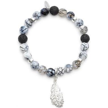 Oriwest Feather Agate Lava Bead Bracelet