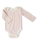 Petit Pehr Long Sleeve One Piece Stripes Away Ruffle Dark Pink