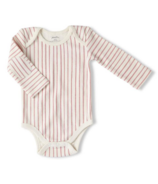 Petit Pehr Long Sleeve One Piece Stripes Away Ruffle Dark Pink