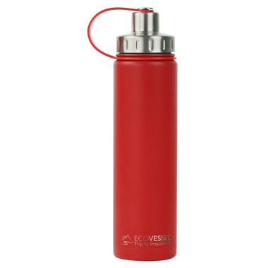 Eco Vessel Boulder TriMax Insulated Water Bottle In Jazz Red