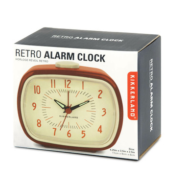 Kikkerland Retro Alarm Clock + Red