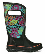 Bogs Rain Boot Footprints Black Multi