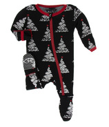 Kickee Pants Print Footie with Zipper Midnight Foil Tree