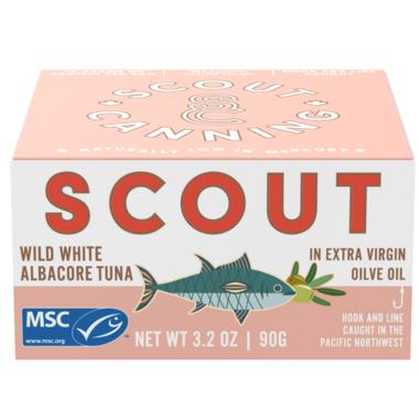 Scout Wild White Albacore Tuna in Organic Extra Virgin Olive Oil