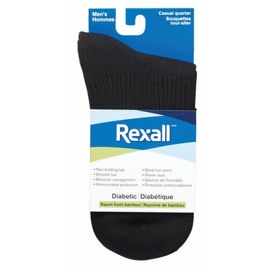 Rexall Men\'s Bamboo Casual Quarter Diabetic Socks