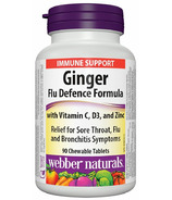 Webber Naturals Ginger Flu Defence Formula with Vitamin C, D3, and Zinc