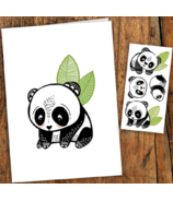 PiCO Temporary Tattoos Panda Card & Tattoos