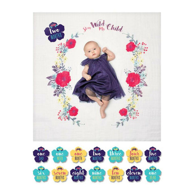 Lulujo Baby\'s First Year Milestone Blanket & Cards Set