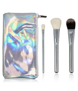 Zoe Ayla 3 Piece Silver Iridescent Brush Set With Holographic Pouch