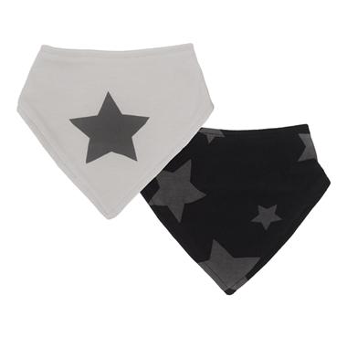Kushies Bandana Bib Grey Stars