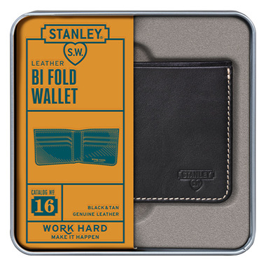 Stanley Bi Fold Leather Wallet Black & Tan