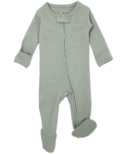 L'oved Baby Organic Footed Zipper Jumpsuit Seafoam