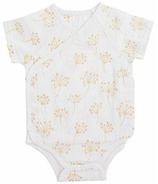 aden + anais Short Sleeve Kimono Body Suit Metallic Gold Dandelion