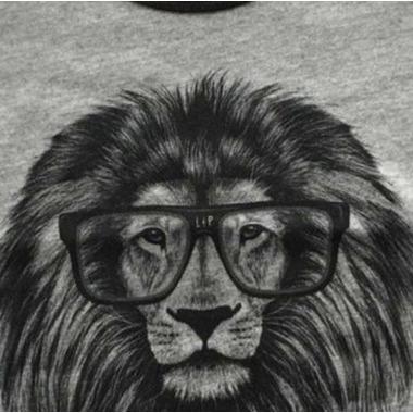 L&P Apparel Baseball Style Shirt Grey & Black Lion